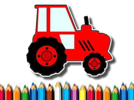 Easy Kids Coloring Tractor thumbnail