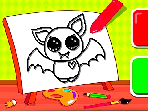 Easy Kids Coloring Bat thumbnail